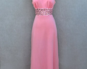 Pink Vintage Dress with Waistline Sequins Detail