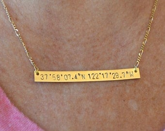 Latitude and Longitude Coordinates Gold Brass Bar Necklace - Coordinate, Handmade, Custom, Stamped, Metal Necklace