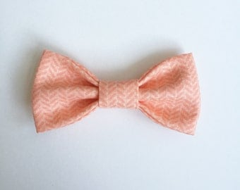Peach/Salmon Herringbone // Kids Fall Bow Tie / Infant/Newborn Bow Ties // Girl's Hair Bow // Fall Accessory. Perfect for the Holidays