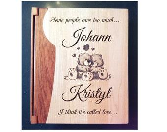Personalized Photo Album, Custom Engraved Family Album, Wedding Album, Baby Album: Maple & Rosewood,