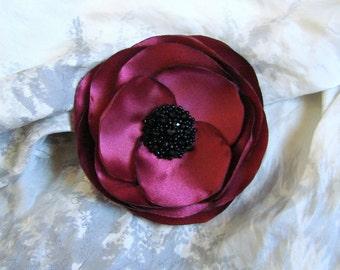 Burgundy hair clip, Dark wine hair flower, Bridesmaids Burgundy flower, Dark wine wedding flower, Burgundy flower, Burgundy wedding