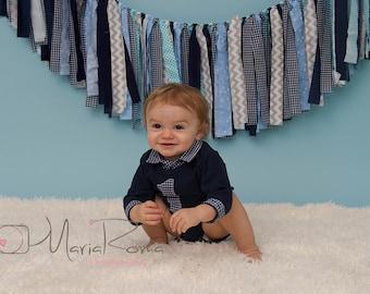 Blue Fabric Garland- 1st Birthday Photo Prop - Blue and Gray Fabric Garland - Boy Photo Prop - Blue Rag Tie Banner