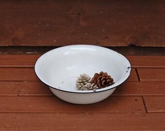 Vintage Enamelware Bowl, White with Black Rim Enamel Basin
