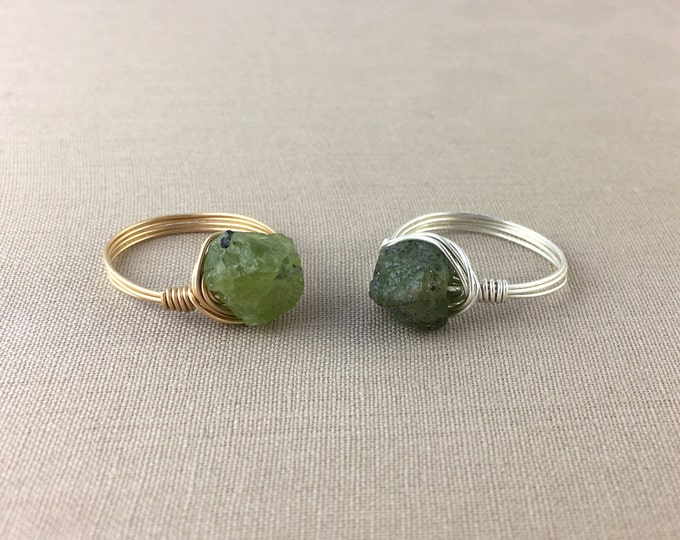 Raw Peridot Ring // Wire wrapped raw peridot ring, rough peridot ring, green gemstone ring, bohemian jewelry, jewelry under 25, crystal ring