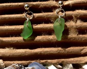 Green Beach Glass Earrings 2