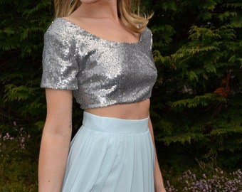 Custom made 'Lexie' sequin or satin crop top with short sleeves and scoop neck - formal or casual separates mix and match for wedding party