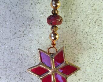 Stained Glass Suncatcher Garden Art Red Star