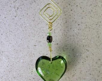 Suncatcher Garden Art with Solid Glass Green Heart