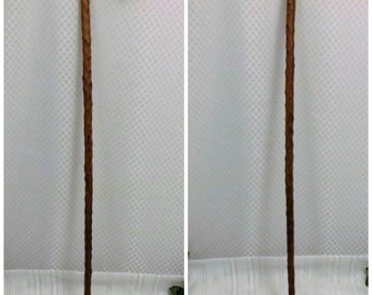 Hand Carved Gentlemens Cane Walking Stick Knotted Wood Curled Grip