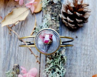 terrarium bracelet, red rose terrarium, real red rose, vial, woodland jewlery, glass vial, terrarium glass vial, romantic, gift for her