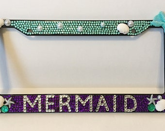 mermaid ombre teal purple license plate frame bling beach car frame beach gifts for her