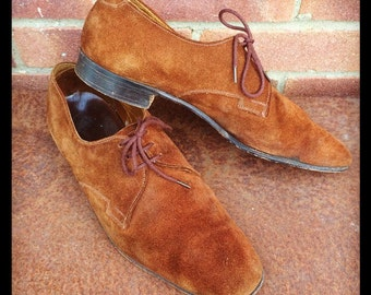 "1970's ""Fyna - Hornes of London"" Suede Leather MOD Shoes UK size 8"