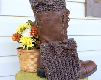 Brown Bow Tie Crochet Boot Cuffs, Warm Boot Toppers, Chocolate Brown Boot Cuffs with Dainty Bow,  Boot Cuffs for Women or Teens