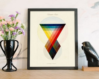 Geometric Art Print, Chromatic, Abstract Art, Color Wheel, Minimalist Art, Modern Design, Gradient, Color Study, Triangle Art, Bright Colors