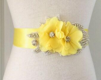 Yellow Bridal Sash-Lemon Yellow Sash-Yellow Wedding Sash-Yellow Bridal Belt-Yellow Flower Sash-Maternity Sash-Rhinestone Chiffon Flower Sash
