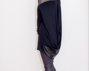black tunic/ oversized tunic/ faux leather tunic/ Long Sleeves Tunic Top/ Drape Top