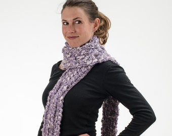 Super Long Knit Scarf, Purple and White, Chunky Knit, Wool and Acrylic - 168