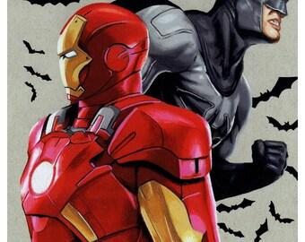 Ironman/Batman Crossover Prints