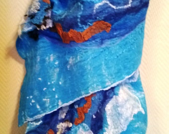 Silk and Wool Shawl Nuno Felted Turquoise Scarf Unique Handmade Scarf Silk Scarf Wool Scarf