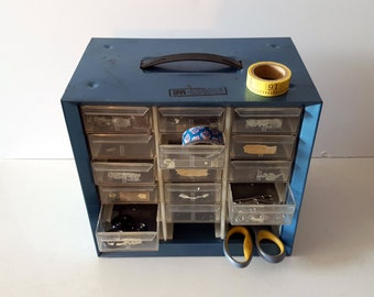 Vintage Blue Metal Storage Box, Hardware Organizer, 15 Drawer Cabinet, Akro-Mills, Industrial