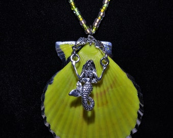 Sunny Yellow Mermaid Shell Necklace Mermaid Jewelry Seashell Necklace Sea Maiden Ocean Jewelry Ocean Necklace Beach Jewelry Beach Necklace