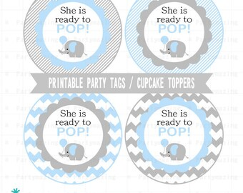 Blue Elephant Baby Shower Tags, Printable Stickers, Cupcake Toppers Party Circle Tags, Avery Paper, Instant Download -D682 BBEB2