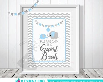 Guest Book Sign, Baby Blue and Grey Elephant Baby Shower Favor Sign, Party Sign, DIY Printable, Instant Download -D003  BBEB3