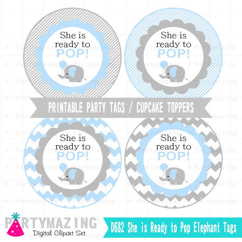 Blue elephant baby shower tags printable stickers cupcake for Ready to pop free printables