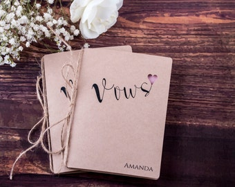 Rustic Vows Books, Wedding Book Personalized Wedding Vows Booklet, His and Her Vows Rustic Vows Journal - Set of 2