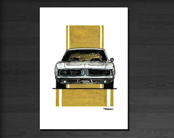 Classic Dodge Charger greetings card