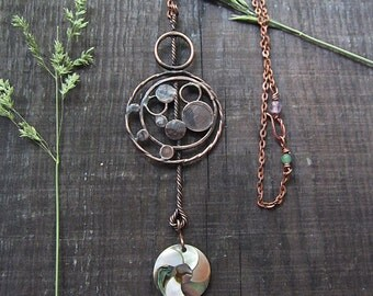 Copper Pendant, Mother-of-Pearl  Pendant, Statement Necklace, Boho Necklace, Rustic Necklace