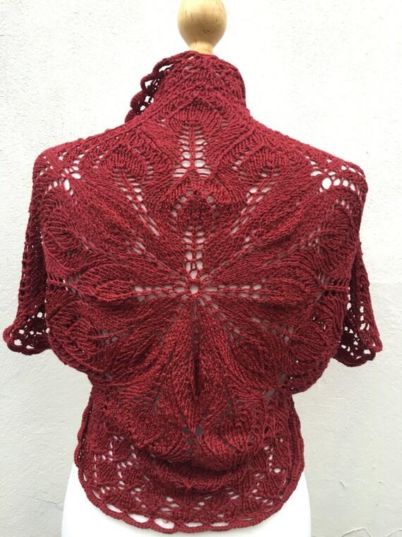 Burgundy Hand Knitted Bolero, Burgundy Bridesmaid bolero, wedding bolero, knit  Bolero, Vest, Silk knit Bolero