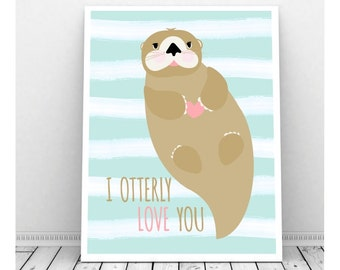 Otter Nursery Art,  Instant Digital Download, Baby Nursery Decor, Otter Art, Nursery Art, Otter Pun, I Otterly Love You, Water Baby, Stripes
