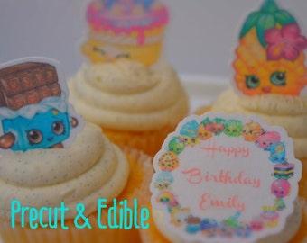 Shopkins cupcake topper, shopkins cupcake, edible & precut, Shopkins birthday,