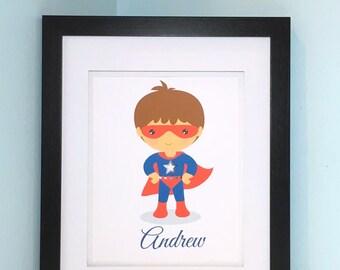 Personalized Super Hero Wall Art - Boys Super Hero Room Art - Boys Room - Custom Super Hero Wall Decor - Cape and Mask Super Hero Art