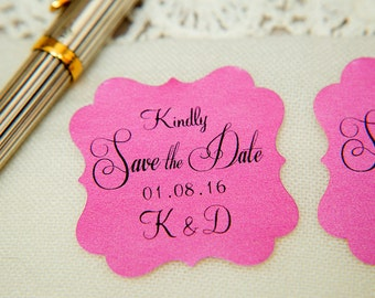 Hot Pink Printed Save The Date seals. Custom printed Wedding stickers. personalised Pearlised Envelope seals. Wedding favours