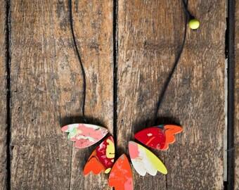Ruby Olive Rainbow Multicolour Artisan Resin Necklace