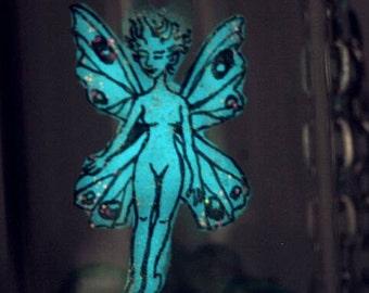 fairy bottle pendant, glow in the dark fairy necklace, captured fairy pendant,fairy,glass potion bottle,terrarium fairy,miniature fairy