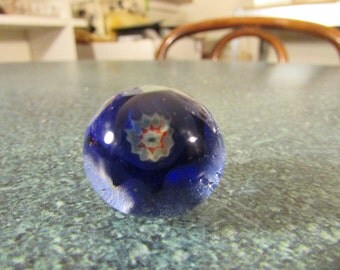 Miniature Sphere / Marble Art Glass Paperweights W/ Whimsical Flower