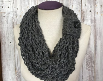 Handmade scarf, Crochet Infinity scarf, Circle Scarf, women's scarf with Button