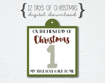 12 Days of Christmas gift tags, countdown gift tags, twelve days of Christmas, On the first day of Christmas gift tags,