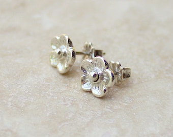Silver Flower Stud Earrings, Silver Post Earrings, Silver Rose Post Earrings, Silver Flower Posts, Silver Flower Earrings