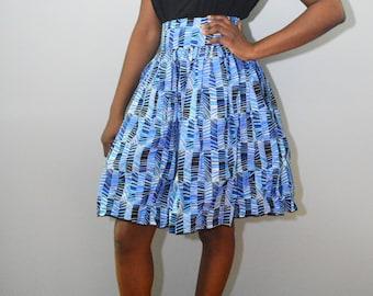 High Waist Blue Skirt