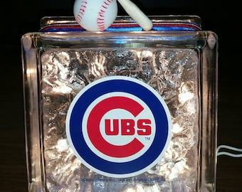 CHICAGO CUBS Baseball Lighted Glass Block Nightlight and Decoration