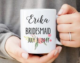 Bridesmaid Floral Mug, Bridesmaid Mug, Floral Bridesmaid Mug, Maid of Honor, Wedding Party Favors, Bridesmaid Gift, Bridal Party Favors, Mug
