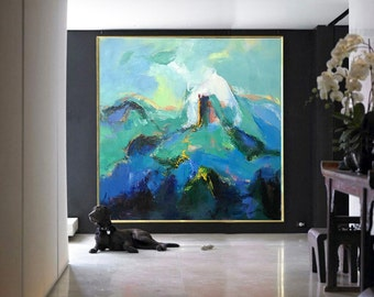 Handmade Large Contemporary Art Canvas Painting, Original Art Acrylic Painting, Abstract Canvas Art. Green, Blue, Pink, Black, White.