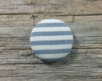 Blue and white stripe fabric covered buttons (size 60, 40, 32, 20, or 18)