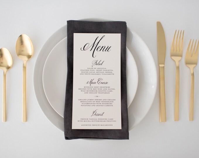 hazel wedding menus (sets of 10)  // traditional classic black white calligraphy romantic custom modern wedding menu