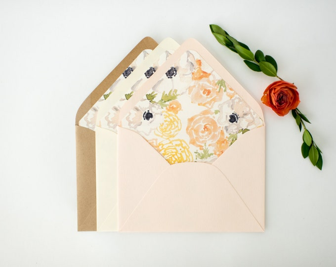 watercolor floral lined envelopes / floral envelope liner / blush / envelopes for wedding invitations / wedding envelopes / envelope liner