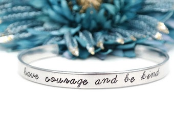 Have Courage And Be Kind Hand Stamped Jewelry | Quote Inspiration Be Brave Kindness Karma Jewelry | Hand Stamped Aluminum Bracelet Cuff